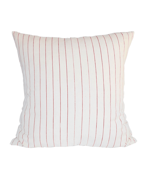 cream with red stripe pillow