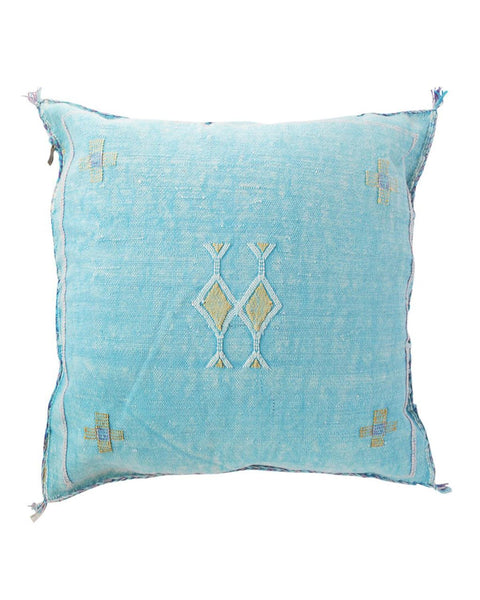 moroccan cactus silk pillow pool blue