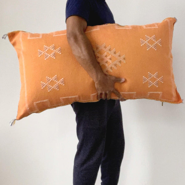 moroccan cactus silk lumbar pillow rust