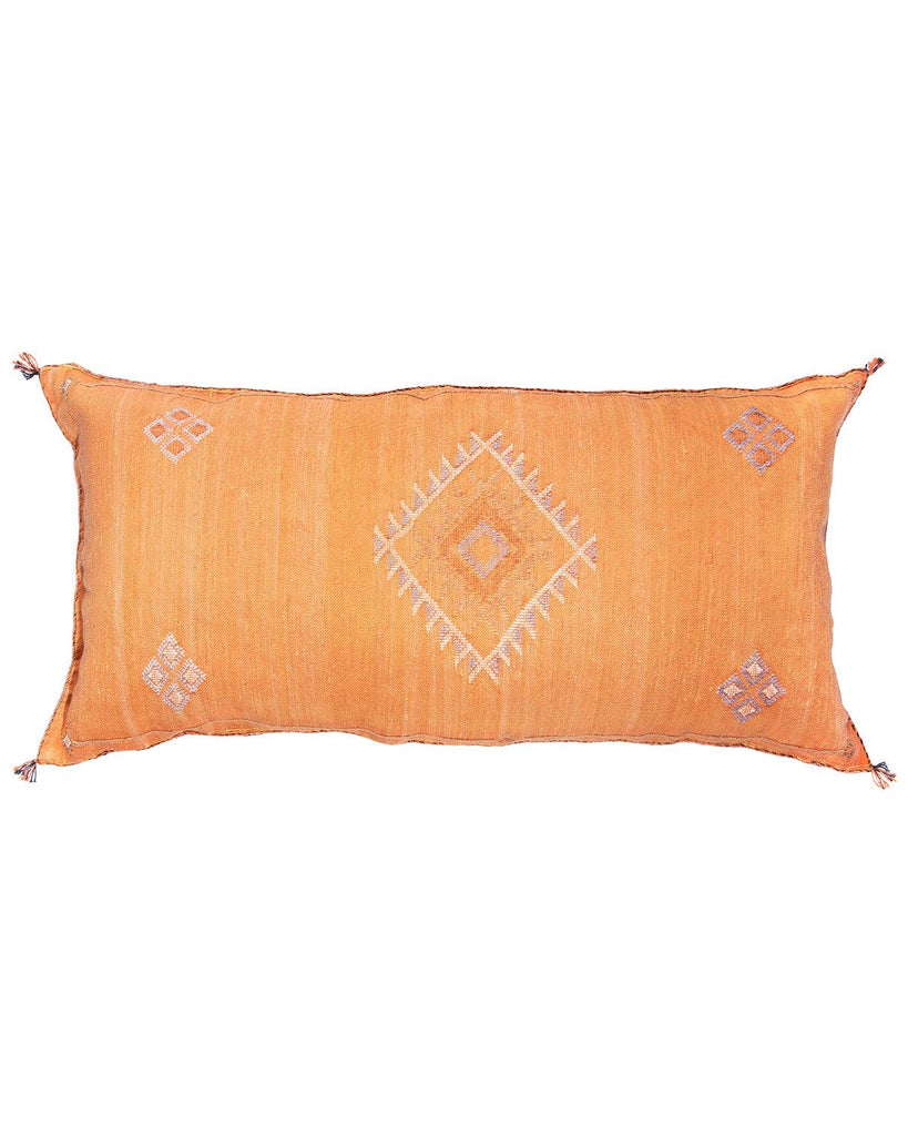 moroccan cactus silk extra large lumbar pillow rust