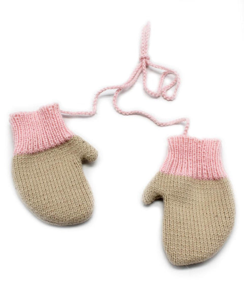 connected mitten ornament in pink