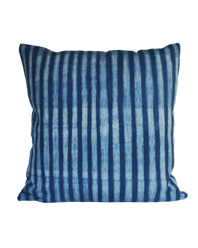 handwoven light indigo stripe pillow