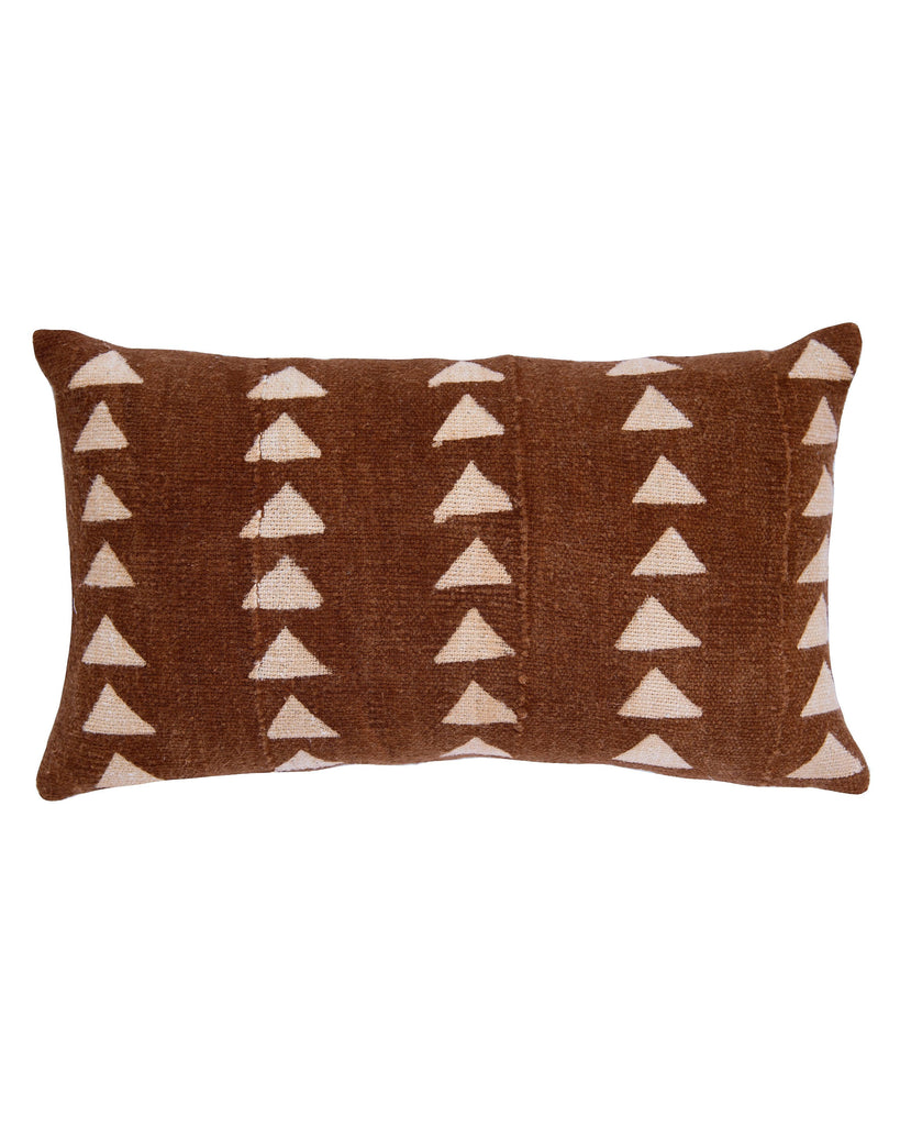 triangle mud cloth large lumbar pillow in rust