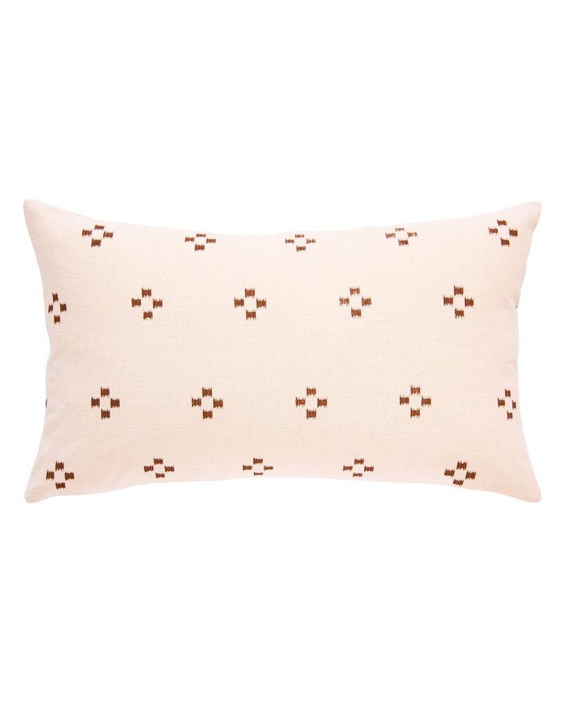 hmong lumbar pillow in cream with brown ikat squares