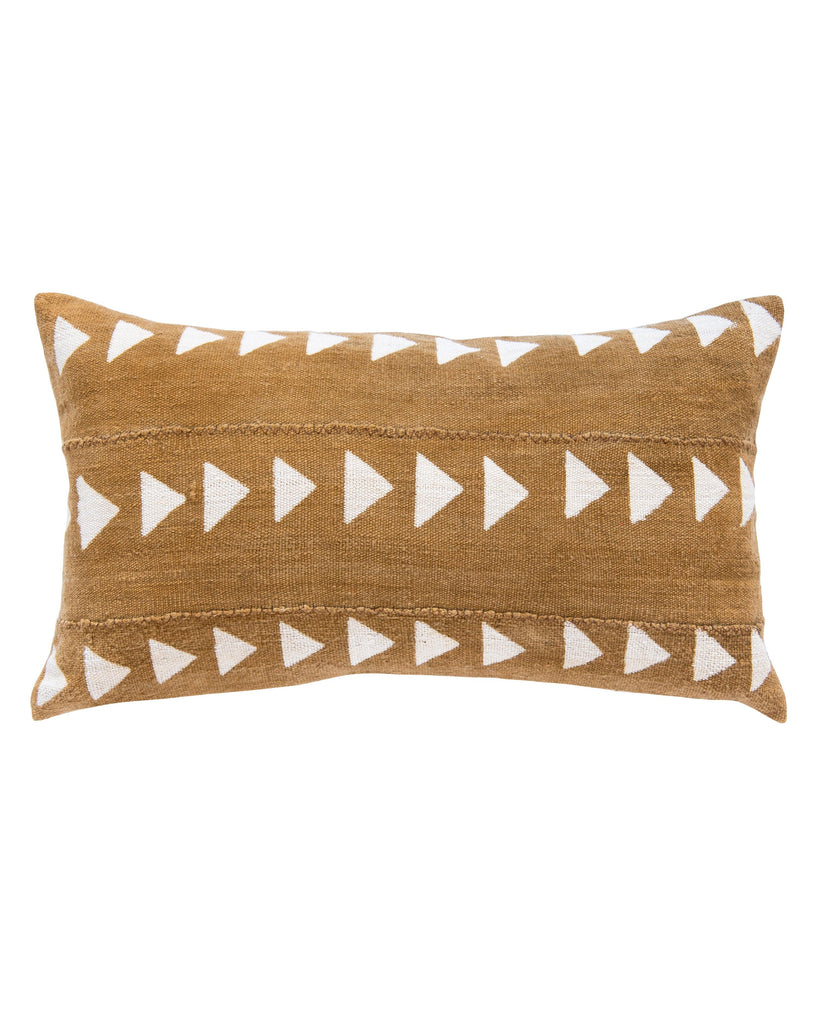 triangle mud cloth lumbar pillow in amber