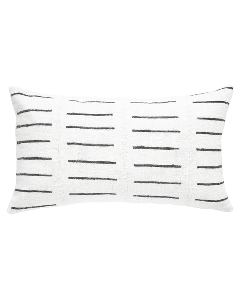 dash mud cloth lumbar pillow in white MADE TO ORDER