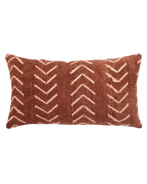 north south birdseye mud cloth large lumbar pillow in rust  MADE TO ORDER