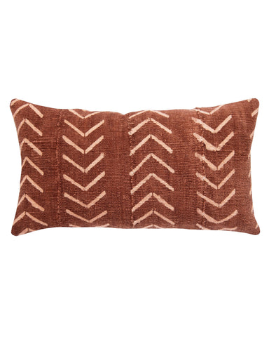 north south birdseye mud cloth large lumbar pillow in rust