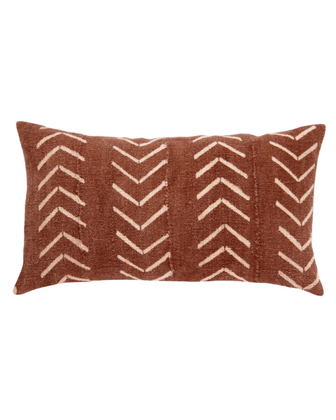 north south birdseye mud cloth lumbar pillow in rust MADE TO ORDER