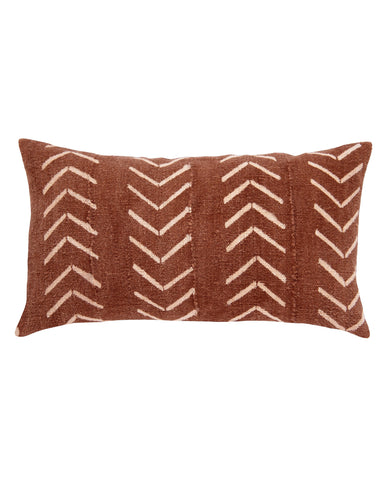 north south birdseye mud cloth lumbar pillow in rust
