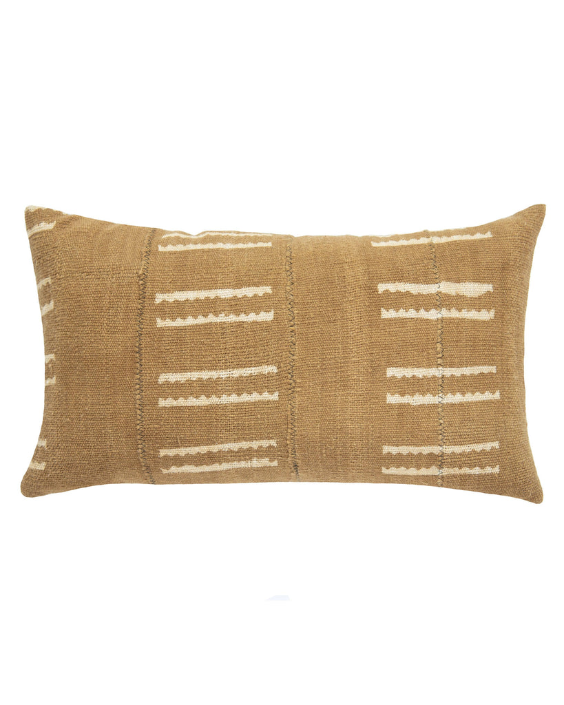 snake bone mud cloth lumbar pillow in tan