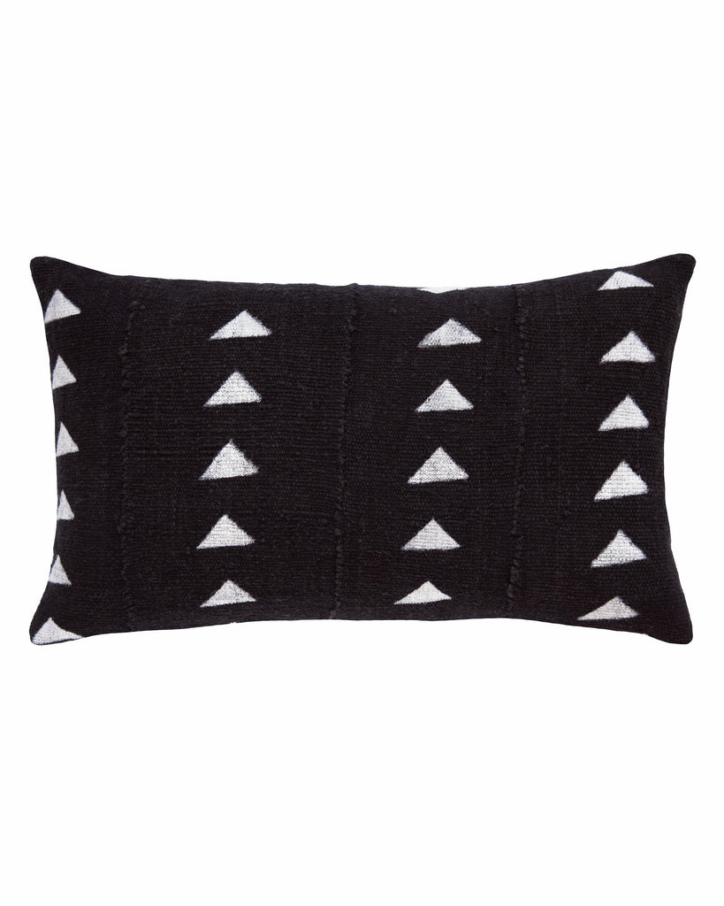 triangle mud cloth lumbar pillow in black
