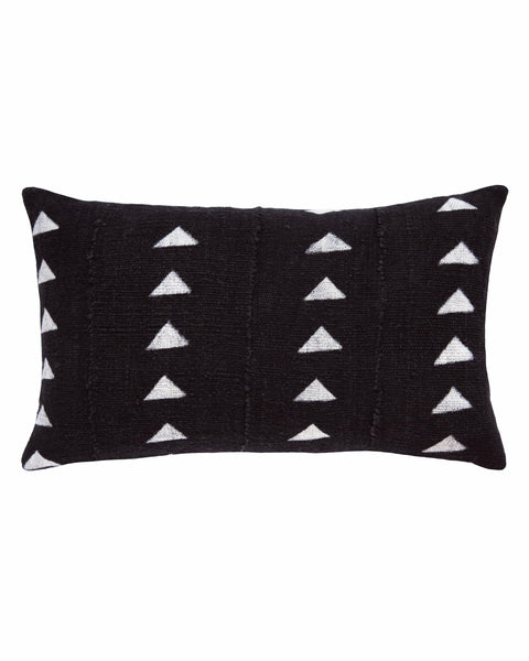 triangle mud cloth lumbar pillow in black MADE TO ORDER