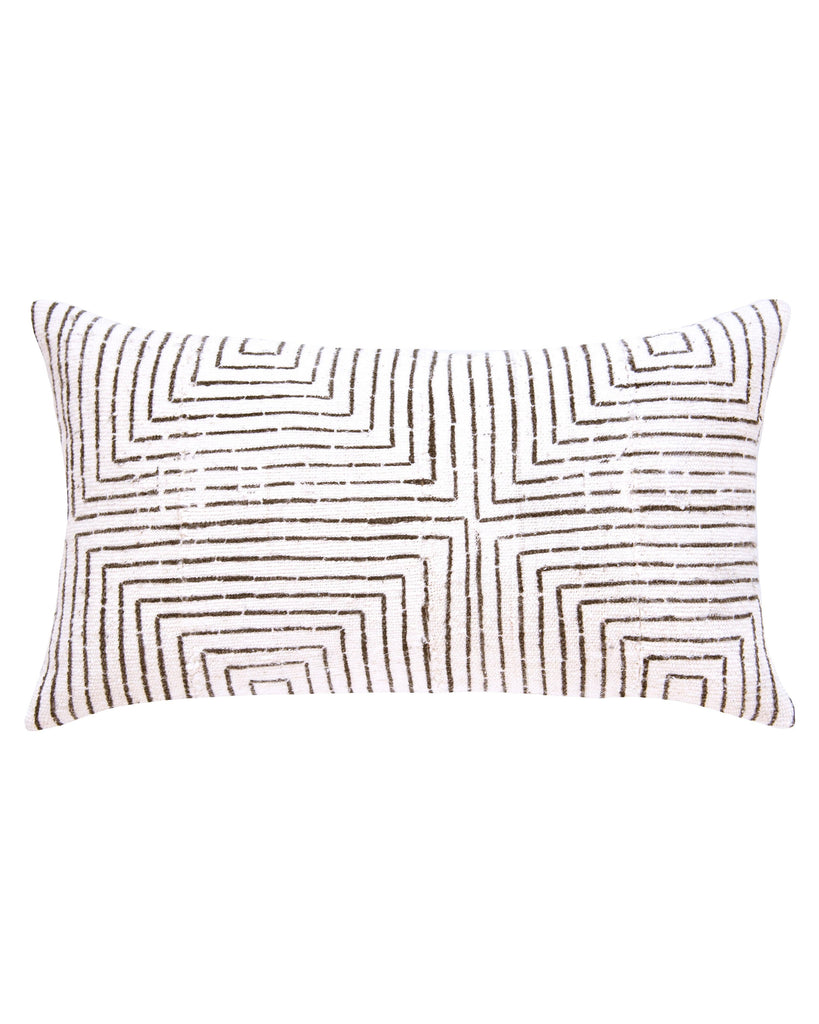 vanishing squares mud cloth lumbar pillow in white