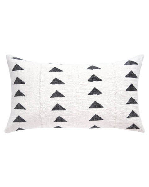 triangle mud cloth lumbar pillow in white