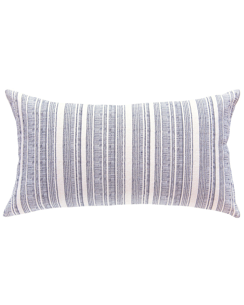 hmong striped large lumbar pillow in cream with navy
