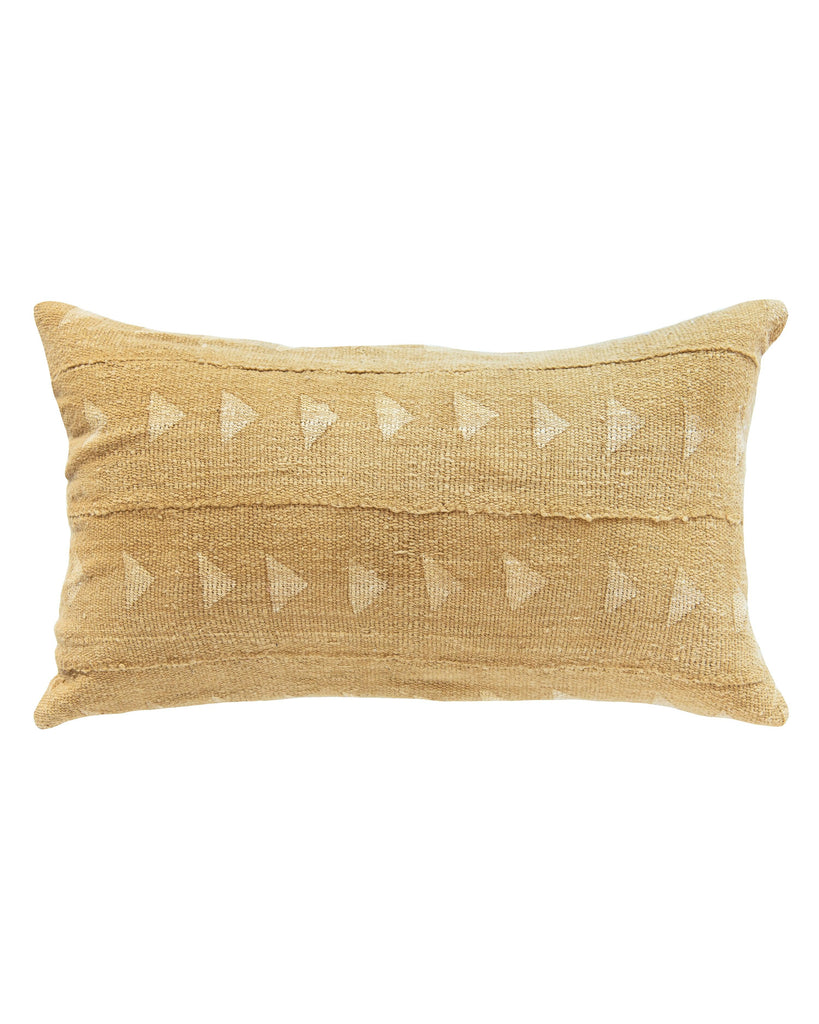 triangle mud cloth lumbar pillow in mustard MADE TO ORDER
