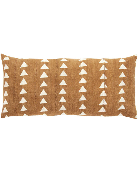 triangle mud cloth extra large lumbar pillow in amber