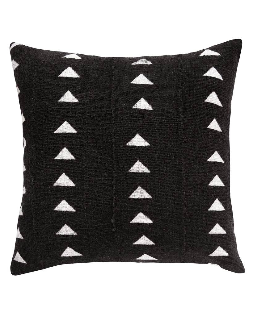 triangle mud cloth pillow in black MADE TO ORDER