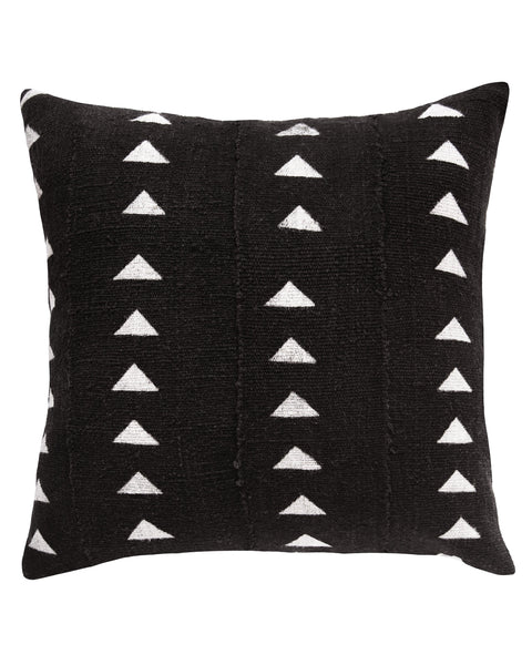 triangle mud cloth pillow in black