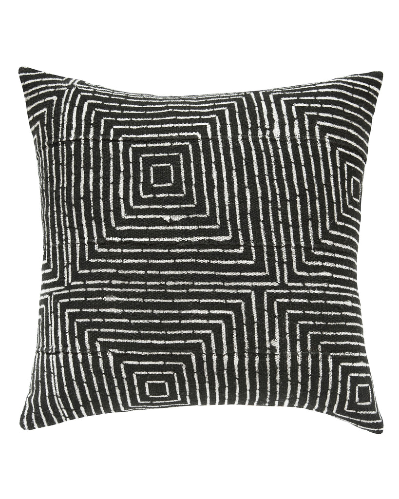 vanishing squares mud cloth pillow in black MADE TO ORDER