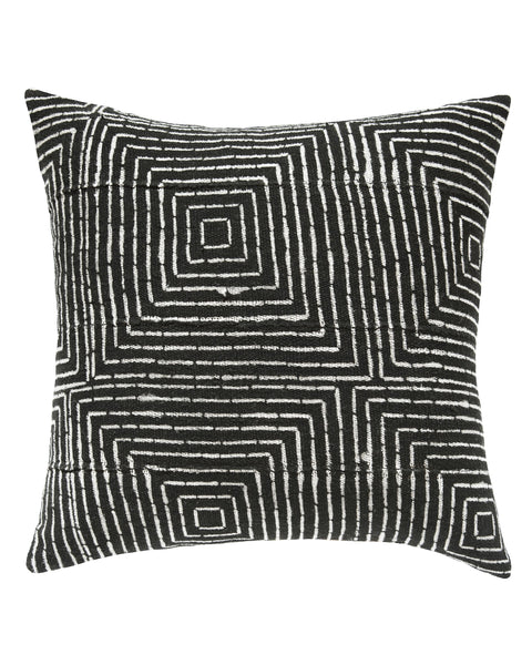 vanishing squares mud cloth pillow in black