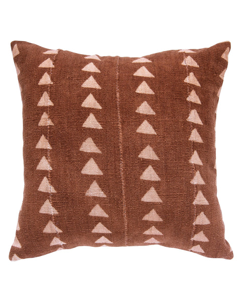 triangle mud cloth pillow in rust MADE TO ORDER