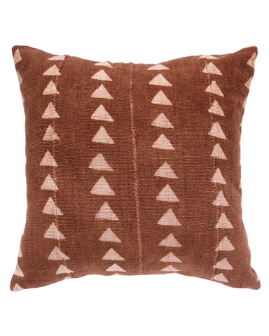 triangle mud cloth pillow in faded rust