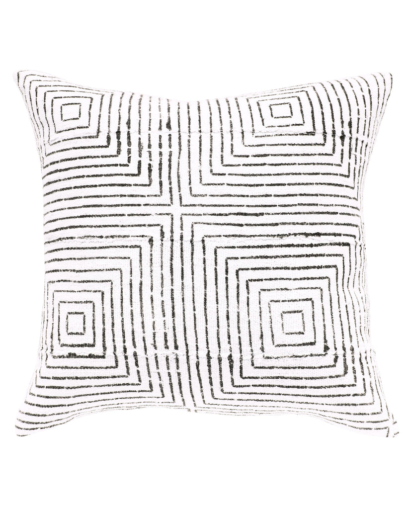 vanishing squares mud cloth pillow in white