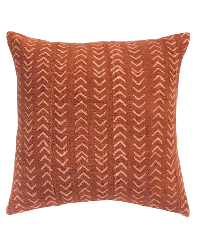 arrows mud cloth pillow in faded rust