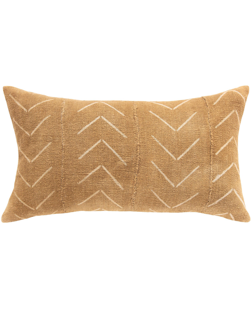 birdseye mud cloth large lumbar pillow in tan