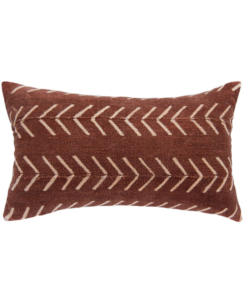 birdseye mud cloth lumbar pillow in rust on rust