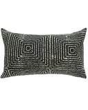 vanishing squares mud cloth large lumbar pillow in black