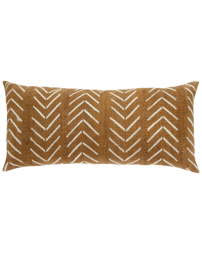 birdseye mud cloth extra large lumbar pillow in tan