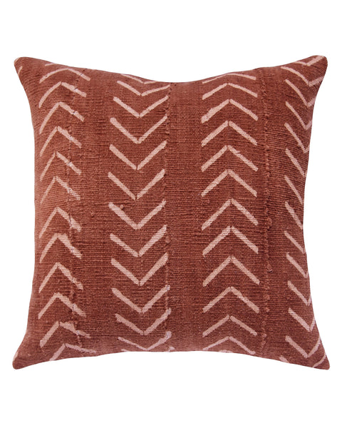 north south birdseye mud cloth pillow in rust MADE TO ORDER