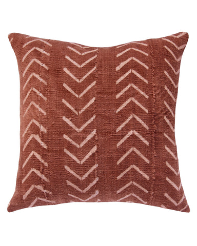 north south birdseye mud cloth pillow in rust