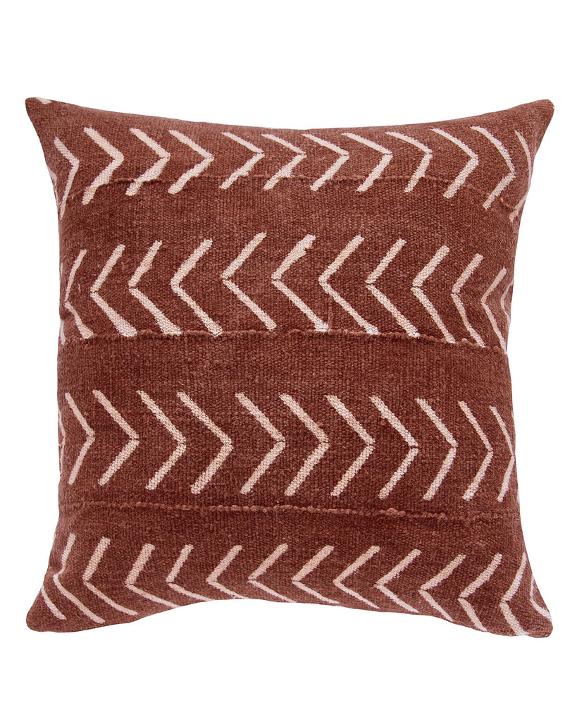 east west birdseye mud cloth pillow in rust MADE TO ORDER