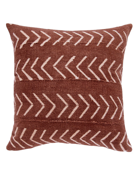 east west birdseye mud cloth pillow in rust