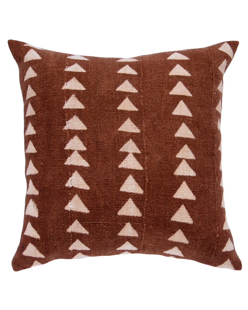 triangle mud cloth pillow in rust
