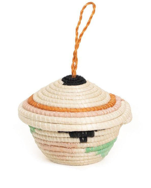 sweet grass basket ornament geo cream