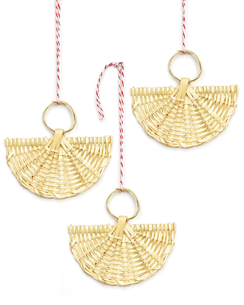 rattan angel ornament set/3