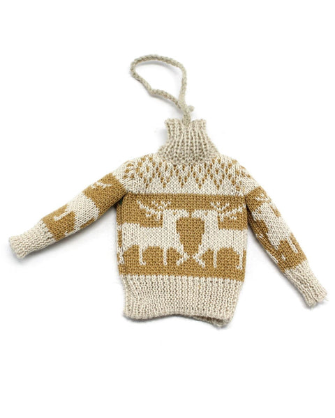 reindeer motif sweater ornament
