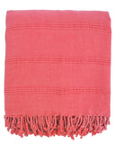 stonewashed fringe peshtemal throw coral