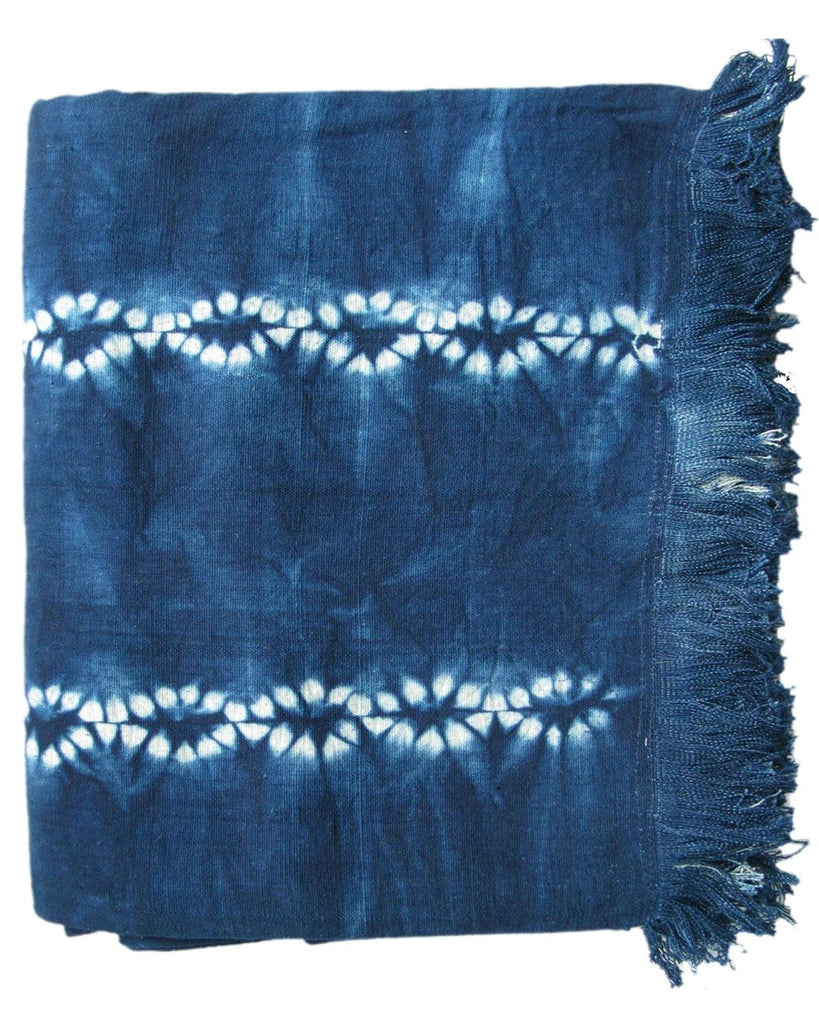handwoven deep indigo chainlink stripe tablecloth throw
