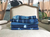 handwoven deep indigo chainlink stripe throw