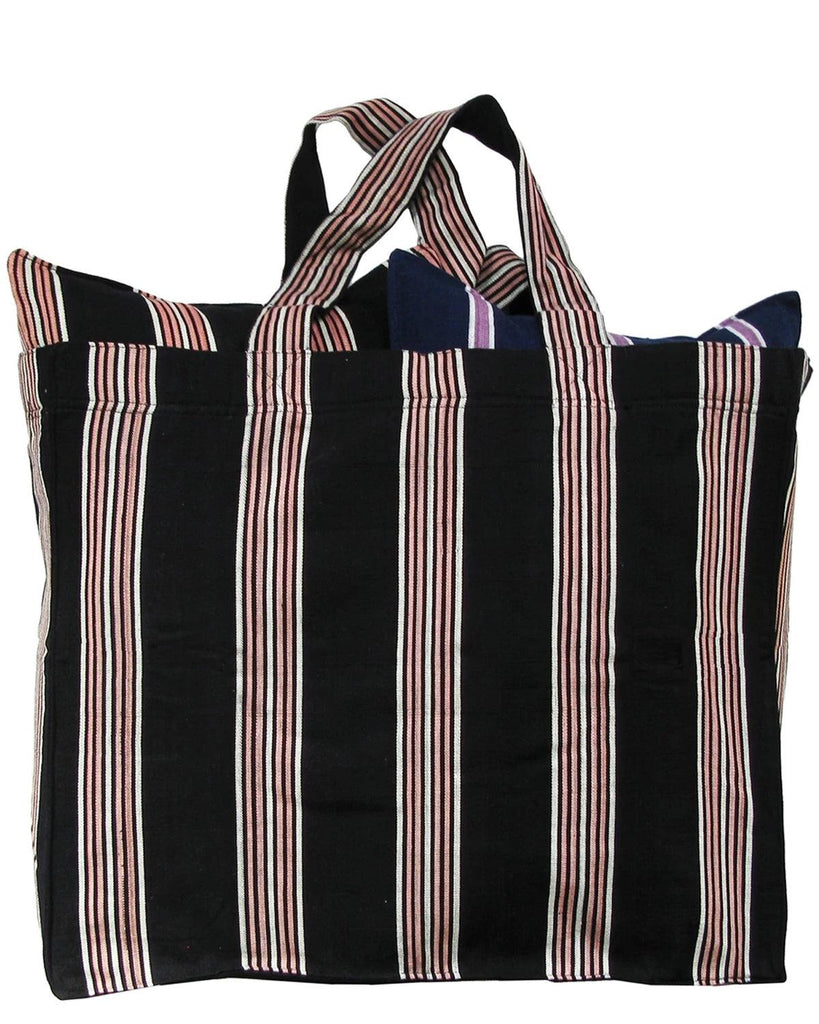 handwoven variegated stripe tote bag