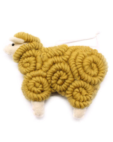 woolly sheep ornament in butterscotch