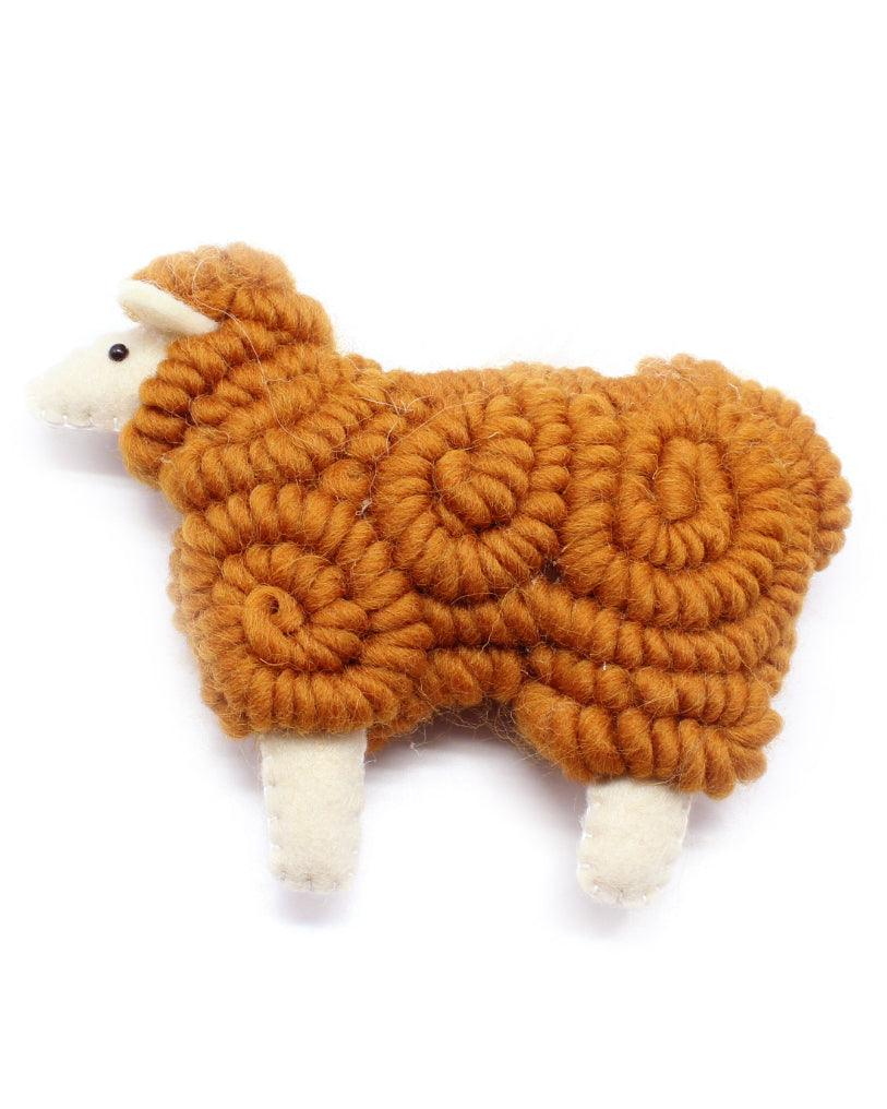 woolly sheep ornament in caramel