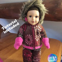 Upcycle a coat to a doll snow suit!