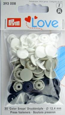 Prym Non-Sew Colour Snaps, Mixed Colours: Gray, Black, & White, ROUND, 12.4mm, 30 Sets